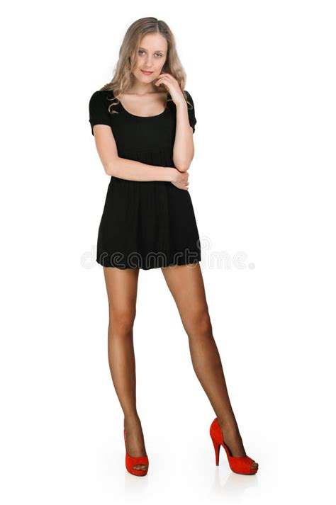 young girl short dress stock photos images pictures fashion girl with short skirt full length stock photo