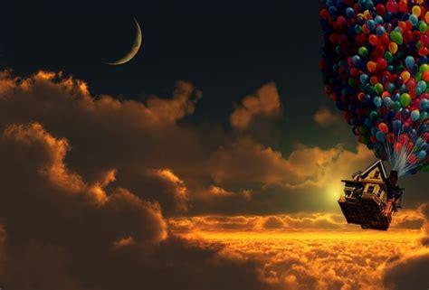 imagenes de up wallpaper moon clouds up balloon house sky desktop