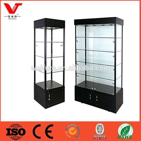 lockable glass display cabinet showcase high quality frameless glass showcase with lockable led
