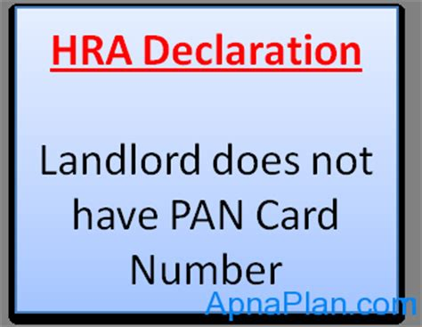 Credit Card Pan Format Hra Declaration Form If Landlord Does Not Pan Card Number