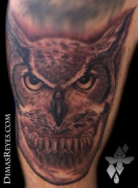 horned owl tattoo kingdom studio tattoos misc black and grey horned