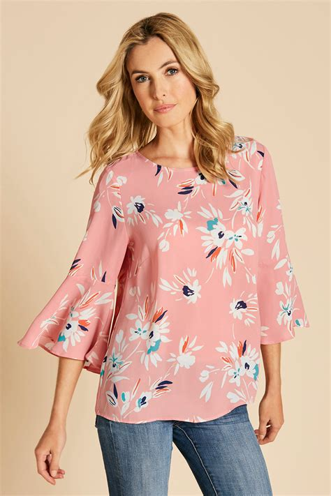 Floral Sleeve Blouse floral print fluted sleeve blouse