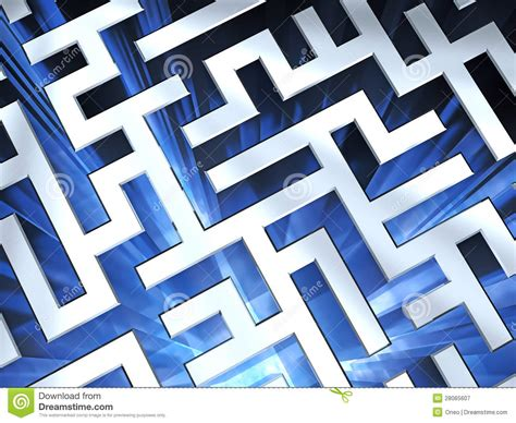 Maze In Blue metallic maze background with blue stock