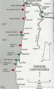 lighthouses of oregon coast map oregon coast mappery