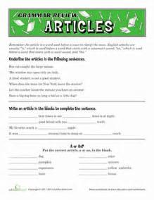 grammar review articles worksheet education com