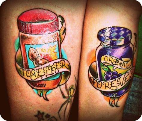 peanut butter jelly tattoo 15 awesome and couples tattoos pbj