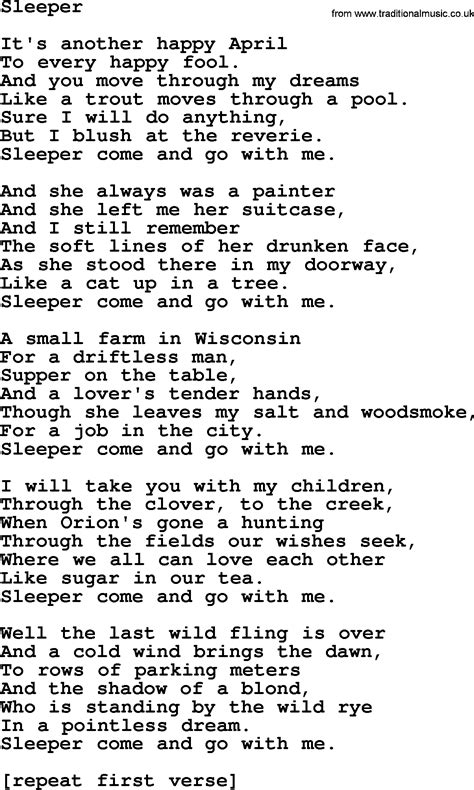 Sleeper Lyrics by Joan Baez Song Sleeper Lyrics