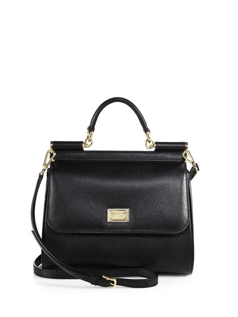 Dolce And Gabbana White Open Leather Bag by Dolce Gabbana Miss Sicily Textured Leather Bag In Black
