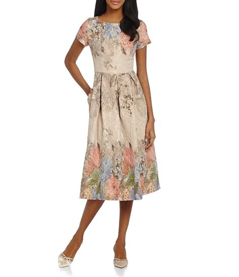 papell beaded floral print dress dillards