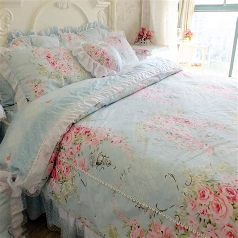 victorian comforter set blue rose bedding set