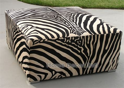 Brown Zebra Print Ottoman Stenciled Black Stripe Zebra On White Cowhide Custom Ottoman Cowhide Ottomans