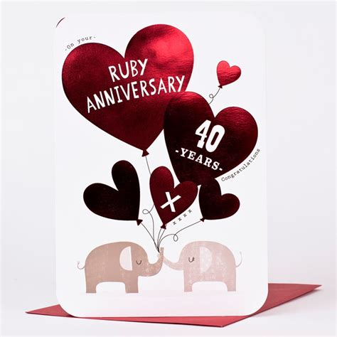 Ruby Wedding Anniversary Ecard by Ruby Anniversary Card 40 Years Only 99p