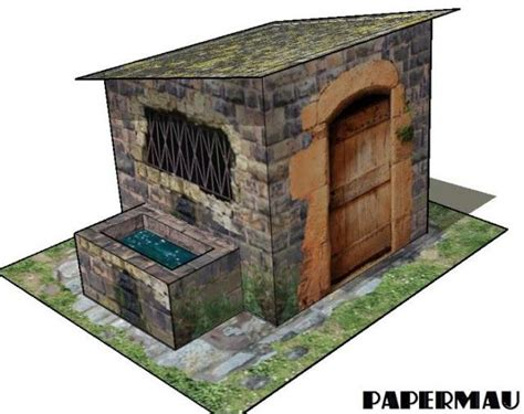 printable diorama buildings ancient fountain house for diorama free building paper