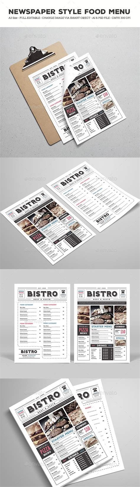 Newspaper Style Food Menu Psd Template Only Available Here Https Graphicriver Net Item Newspaper Style Menu Template