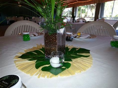 DIY tropical centerpieces with leaves from home depot