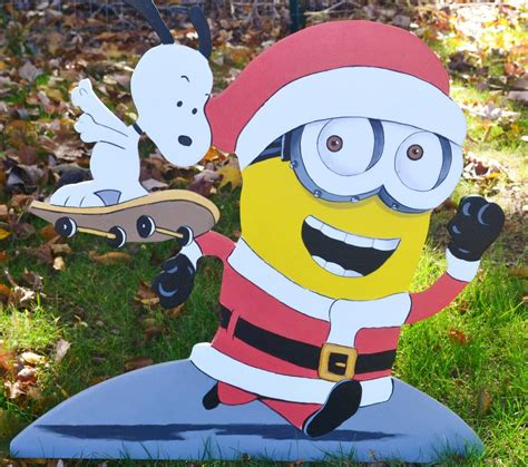 minion outdoor christmas decor lawn stake snoopy minion decorations yard skate board ebay