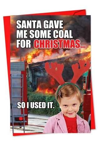 coal  christmas red rocket funny greeting card