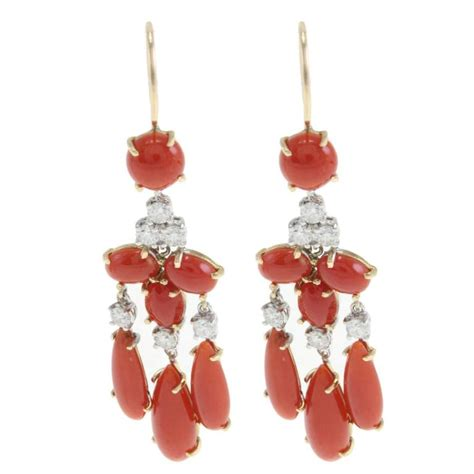 Coral Chandelier Earrings Luise Coral Gold Chandelier Earrings For Sale At 1stdibs