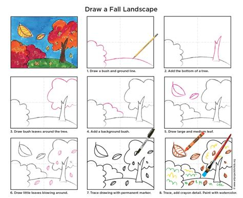 projects for draw and paint a fall landscape pdf tutorial included easy perspective