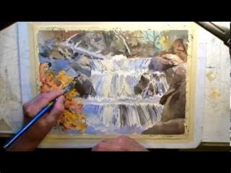 watercolor waterfall tutorial how to paint a waterfall youtube