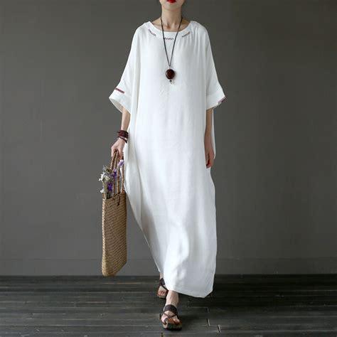 For Two Reviana Linen Dress 4 solid white plus size linen embroidery dress original oversized summer dress linen