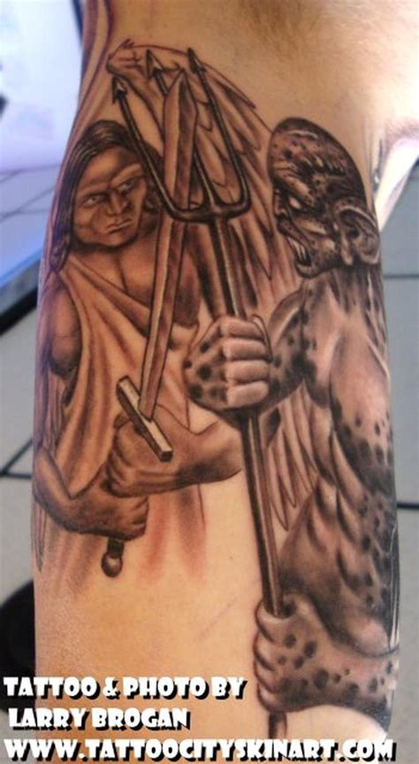 angel vs demon tattoo vs half sleeve by larry brogan tattoos