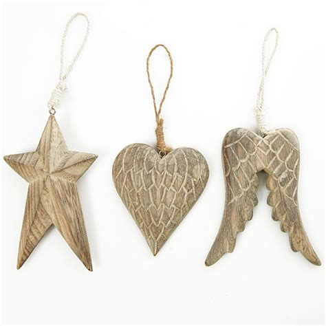 decorations set carved wood tree decorations set of 3