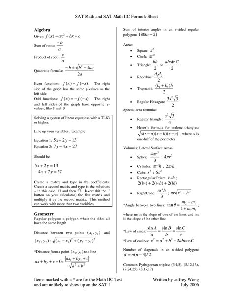 algebra and geometry formulas sheet 15 best images of 10th grade math practice worksheets