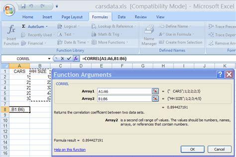 correlation analysis r using excel 2007 tony s
