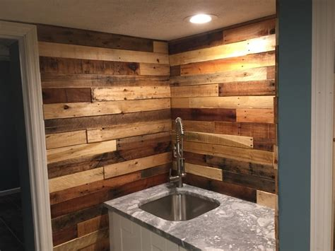 pallet wood backsplash pallet wood backsplash rustic home bar columbus by