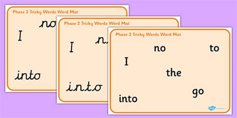 phase 2 word mat phase 2 tricky words word mat pack phase 2 tricky words