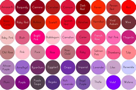 shades of red names different shades of red hair color names red hair and