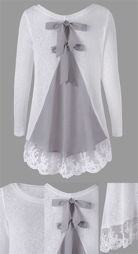 Sleeve Knit Panel Top back bowknot lace panel sleeve knit top frugal