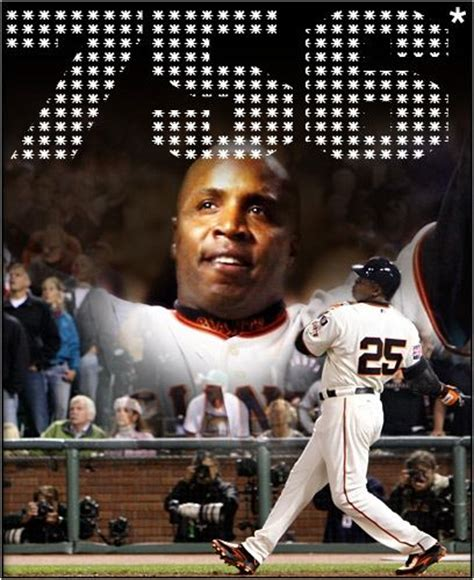 barry bonds breaking the mlb home run record posterize