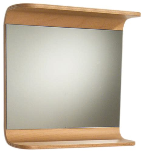 Wooden Bathroom Mirror With Shelf Aeri Rectangular Mirror With Integral Wood Shelf Modern Bathroom Mirrors By Whitehaus