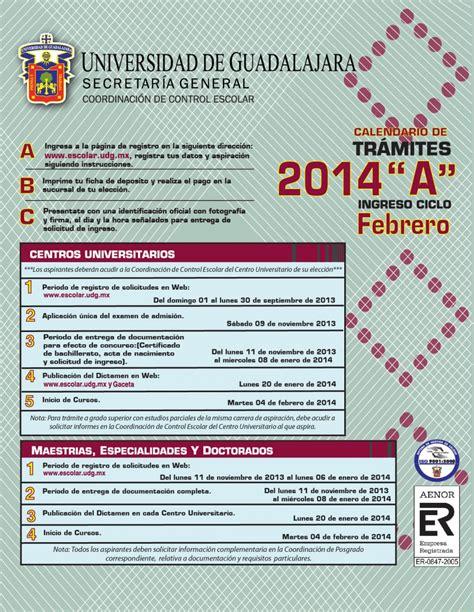 calendario universitario 2014 udg www escolar udg mx tramites primer ingreso registro 1