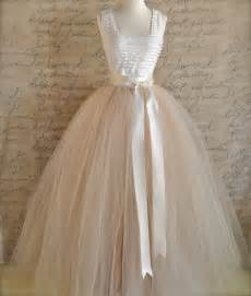 Full length champagne tulle skirt champagne by tutuschicoriginals