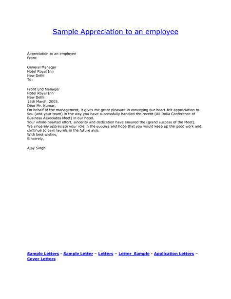 appreciation letter to employees format best photos of appreciation letter to employee for