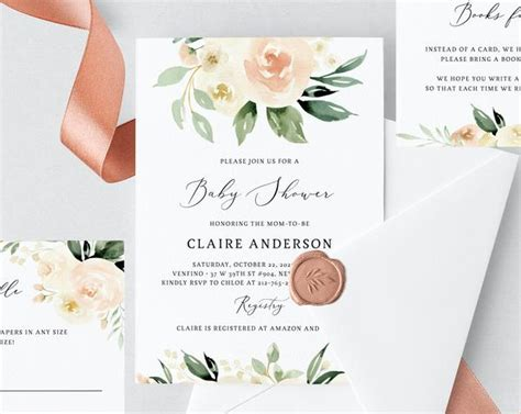 peach floral baby shower invitation template printable