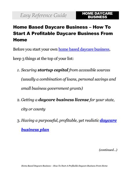 sle business plan for a daycare