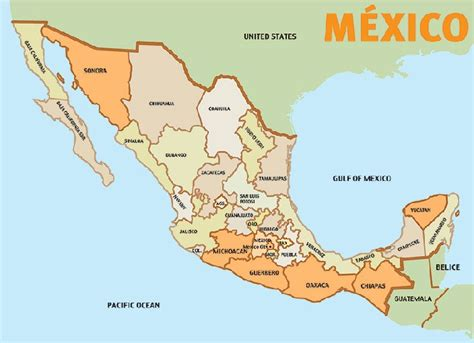 map of the mexico travel roadmap central east route from canada to