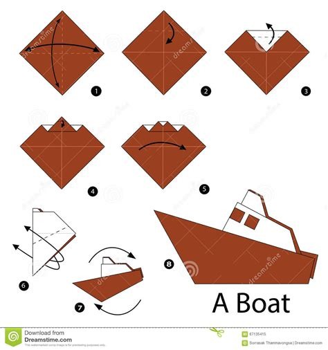 How To Make Toys With Paper Step By Step - step by step how to make origami boat stock