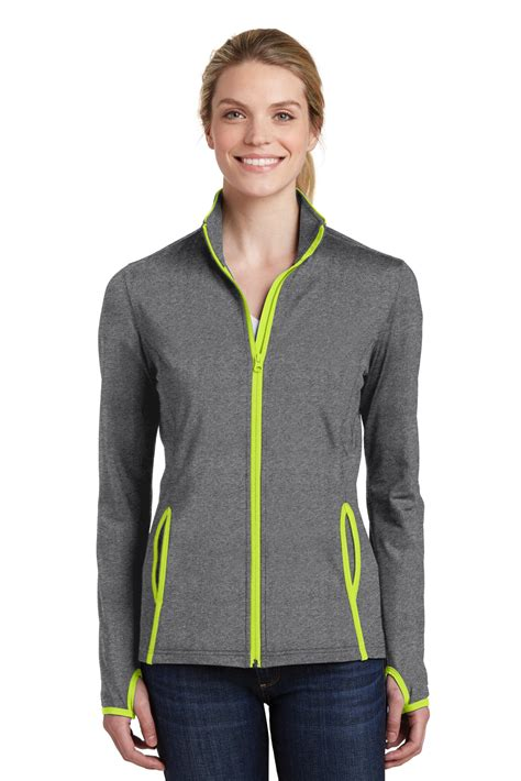sport tek sport wick stretch zipper jacket thumbhole sweater lst853 ebay