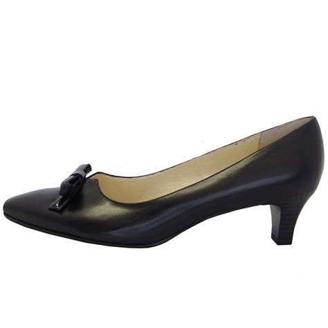low heel shoes kaiser elsie black leather semi pointed toe low