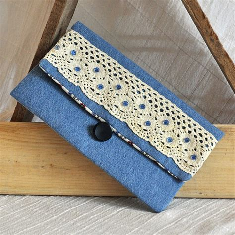 Handmade Blue Jean Purses - clutch small purse handmade denim blue clutch upcycled