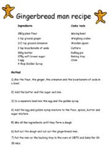 printable gingerbread man recipe english teaching worksheets the gingerbread man