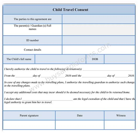 parental consent to travel form template child travel consent form consent form template sle