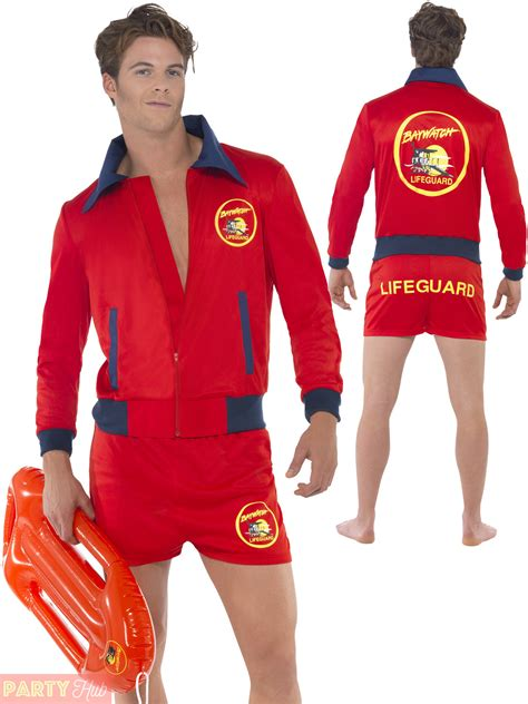 Mens Baywatch Lifeguard Costume Adults 80s 90s TV Fancy