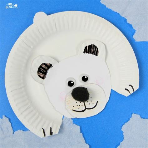 Polar Paper Plate Craft - arctic animals for polar craft a dab of glue