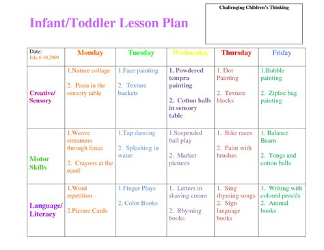 printable lesson plans for 2 year olds preschool curriculum themes toddler lesson plan template